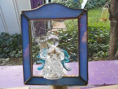 Stained Glass  Suncatcher  Night Light With Blown Glass Angel