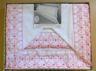 Vintage Boxed Luxury White w/Pink Lace Embroidered Bed Sheet Set Lady Christina