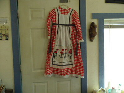 Vintage 1950s Girls RED & WHITE   dress embroidered lace APRON Youngland lord &