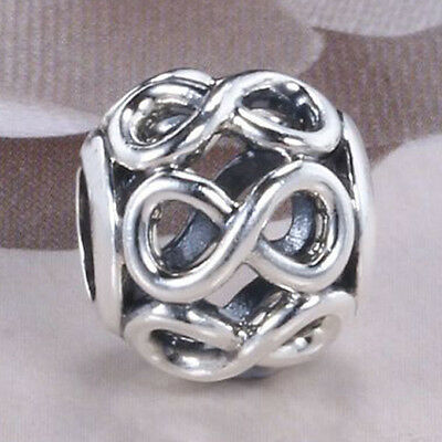 INFINITY Charm 925 Solid Sterling Silver Open Design Infinite Shine Bead