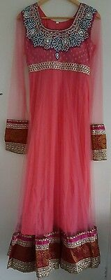 Brand new ladies pink anarkali indian suit partywear shalwar dress size 36/small