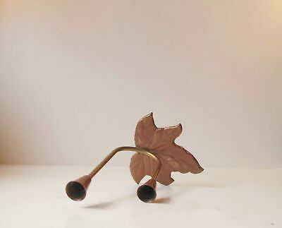 1950s Danish mid century modern Copper Brass Leaf candle holder Aubock Ponti era
