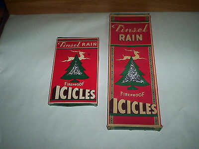 Lot of 2 Vintage Tinsel Rain Fireproof Icicles & Original Boxes 1944 Canada