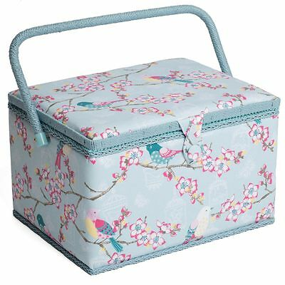 LARGE Sewing Box - Fabric sewing Basket with Handle & Tray Hobbygift TWEET