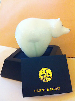 Orient & Flume Art Glass Polar Bear SIGNED With tag label