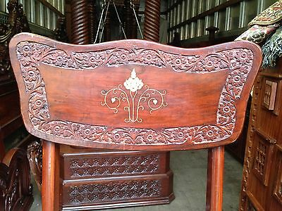 OPEN 2 OFFER-Unique-4Solid Rosewood BrassInlaid Ivy Carved Dining Chairs-CLASSIC