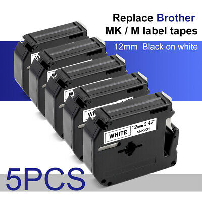 "5PK M-K231 12mm (1/2"") Black on White Label Tape 12mm for Brother M Tape Series"