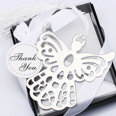 Stainless Steel Silver Guardian ANGEL Bookmark Tassel Page Marker Ribbon Box JS