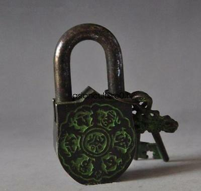China's Tibet Buddhism bronze sculpture white tara big door lock the key LM406