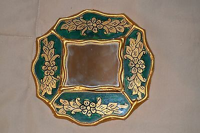 """Sm.5"""" Vintage Florentine Gold Gilt-Green Glass Covered Toleware Wood Wall Mirror"""