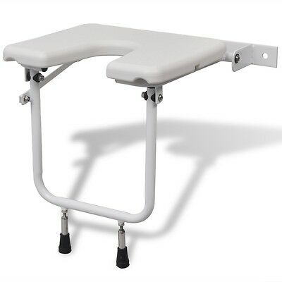 vidaXL Shower Seat with Non-slip Tip Folding Mobility Disabled Elder Steel White