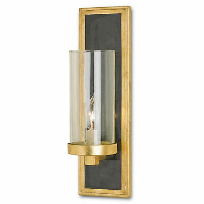 Charade Contemporary Gold Leaf/Black Penshell Crackle Wall Sconce