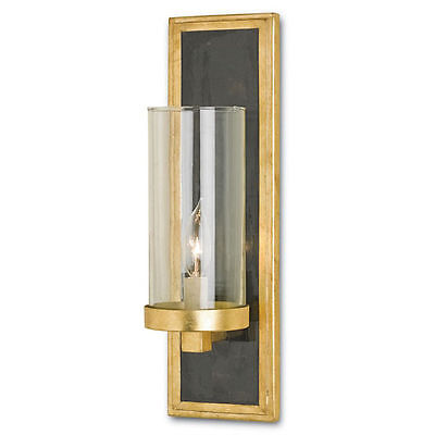Currey and Company Charade Contemporary Gold Leaf Penshell Crackle Wall Sconce