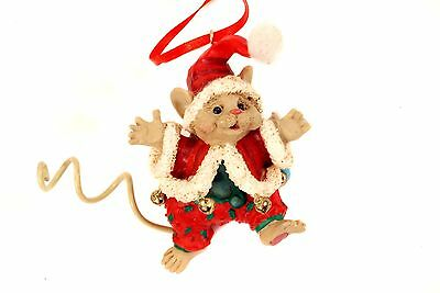 Adorable MOUSE SANTA Xmas Ornament Jingle Bells on Coat KURT ADLER 1990s