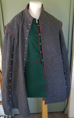 17th Century wool Cassock with pewter buttons Large  42-48 Grey