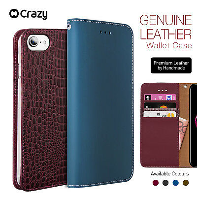 iPhone 7 8 Plus Genuine Leather Wallet Case,Crazy Flip Cover for Apple