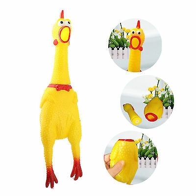 Funny Chew Toy Pet Dog Screaming Rubber Yellow Chicken Squeaker Toy