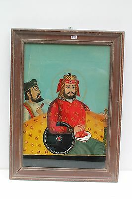 Vintage Old Hand Painted Indian Mughal Persian King Fine Glass Painting NH1578