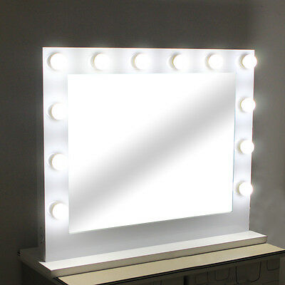 Large Hollywood Makeup Tabletop Mirror Vanity Mirror with Light Dimmer White