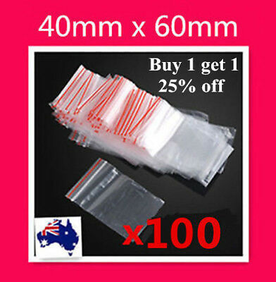 100 X Small 40x60mm 4x6cm Ziplock Zip Lock Resealable Plastic Bag Jewellery Coin