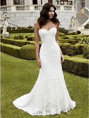 Customize White Ivory Lace Mermaid Wedding Dresses Sexy Strapless Bridal Gown