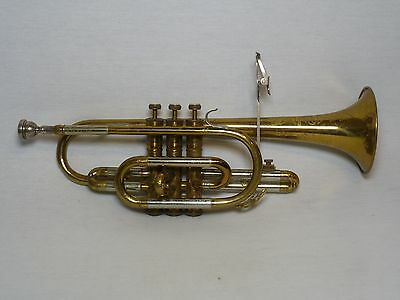 "Vintage US ""Whitehall"" Engraved Brass Two Tone Orchestra Band Blues Music Cornet"