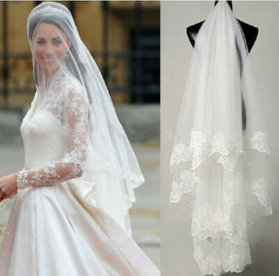 Lace Edge Cathedral Ivory Bridal Veils Long Wedding Veil Accessories 2 Layers