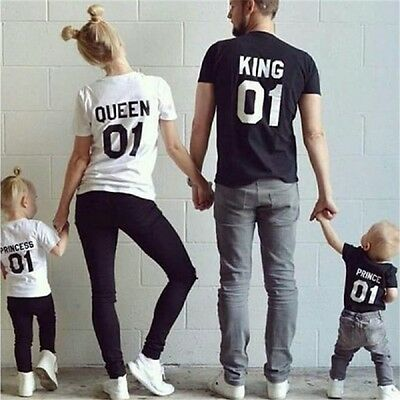 Family Couple T-Shirt King 01-Queen 01-Princess 01-Prince 01 Love Matching Tee
