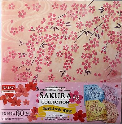 60 Sheets Double-Sided Folding Origami Craft Paper 4 Patterns Sakura collection