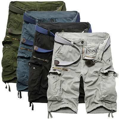 Summer Men's Casual Pants Baggy Shorts Working Cargo Short Army Camo Trousers