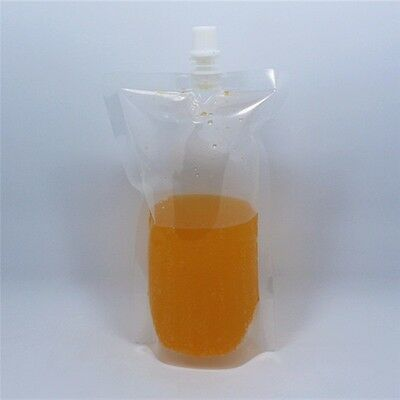 Clear Stand Up Plastic Spout Bags with Cap Beverage Milk Juice Wine Pack Pouch
