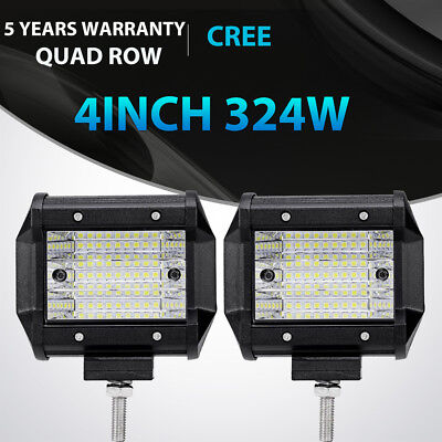 "2x Tri-Row 4""inch 90W CREE LED Work Light Bar Flood Offroad ATV SUV 4WD PK 18W"