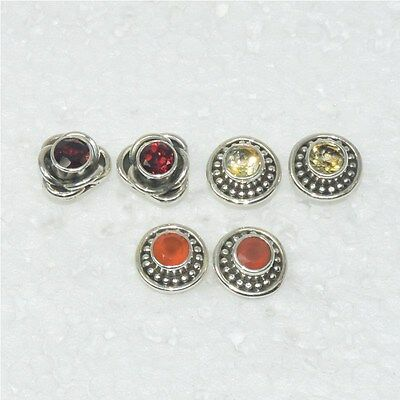 Wholesale 3Pair 925 Solid Sterling Silver Natural Garnet Stud Earring Lot