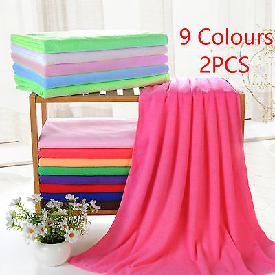 2x Large Microfibre Cotton Beach Bath Hand Towel Sports Travel Gym Lightweight