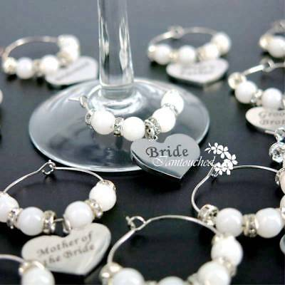 Handmade Wedding Party Champagne Wine Glass Ring Charms Drink Marker Table Decor