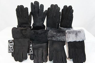 REAL GENUINE SHEEPSKIN SHEARLING LEATHER GLOVES UNISEX Fur Winter MITTENS S-2XL