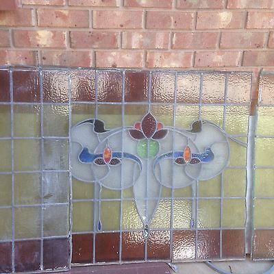 Vintage Ex Shop Front Lead light Stained Glass Window Panels 6.5m Total Length