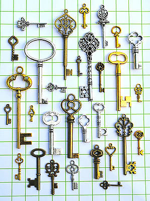 40 Vintage old looking skeleton key lot pendant steampunk for crafts MG8