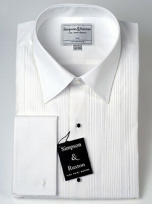 Simpson & Ruxton Pleated Front Dress Shirt Standard Collar