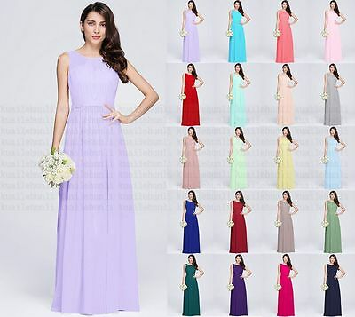 Long Chiffon Evening Formal Party Ball Gown Prom Bridesmaid Dress Stock Size6-18