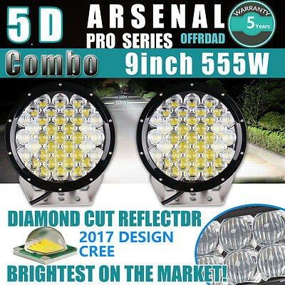 """Pair 5D 9inch 555W CREE LED Work Driving Lights sPOT FLOOD Offroad HID 8 10"""" 2pc"""