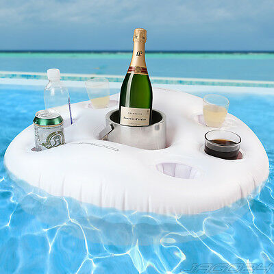 Floating Beverage Holder Bar Spa Inflatable Life Buoy Drinks Pool Party White