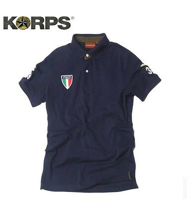 Korps Polo Italia  Da Uomo Piquet 100% Cotone Tennis/ Golf Da S/4Xl Military