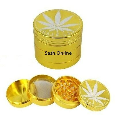 50mm 4 Part Grass Leaf Metal Magnetic Tobacco Herb Weed Crusher