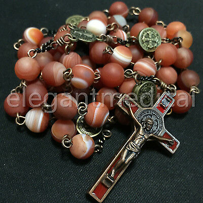 Holy Persian Red Agate Bead St. Saint Benedict catholic Rosary Necklace crucifix