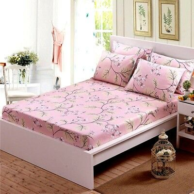 100% Cotton King/Single/Queen Size Bed Fitted Sheet Pillowcases Set Pink Floral