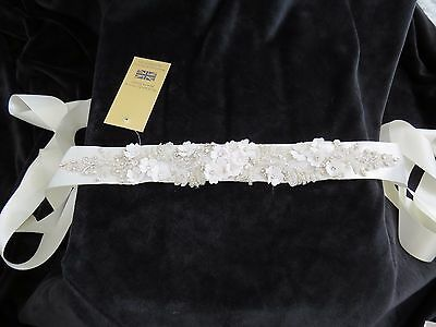 New with tags Richard Designs Flowers & diamante Wedding Belt, Bridal - IVORY