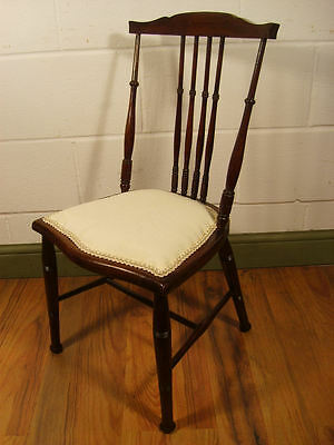 Antique Childs Spindle Back Chair Turned Legs Satin Walnut C.1900 #p4