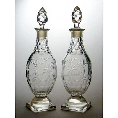 Pair Neoclassical Cut Glass Baluster Decanters c1820
