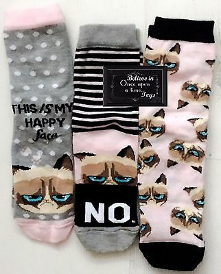 Girl Grumpy Cat Ankle Socks This Is My Happy Face/no Age 7-10 Size 12.5-3.5